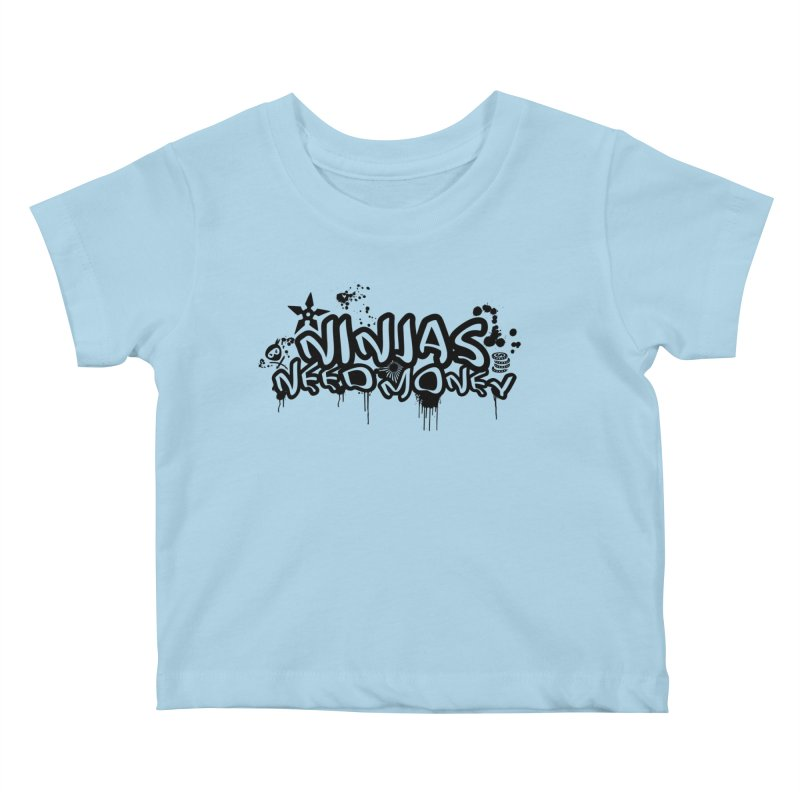 URBAN NINJA BLACK Kids Baby T-Shirt by Ninjas Need Money's Artist Shop