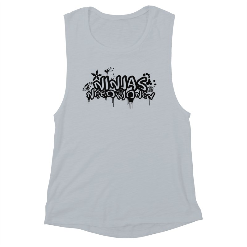 URBAN NINJA BLACK Women's Muscle Tank by Ninjas Need Money's Artist Shop