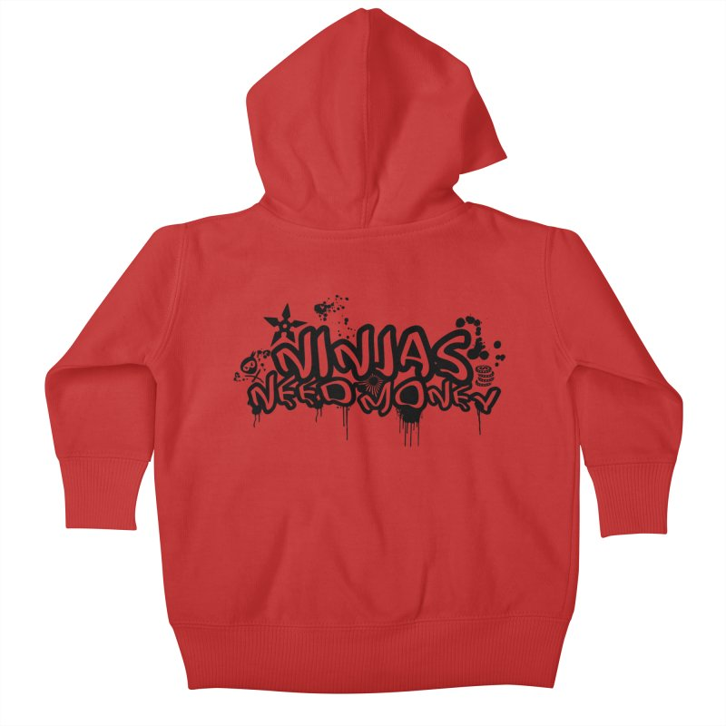 URBAN NINJA BLACK Kids Baby Zip-Up Hoody by Ninjas Need Money's Artist Shop