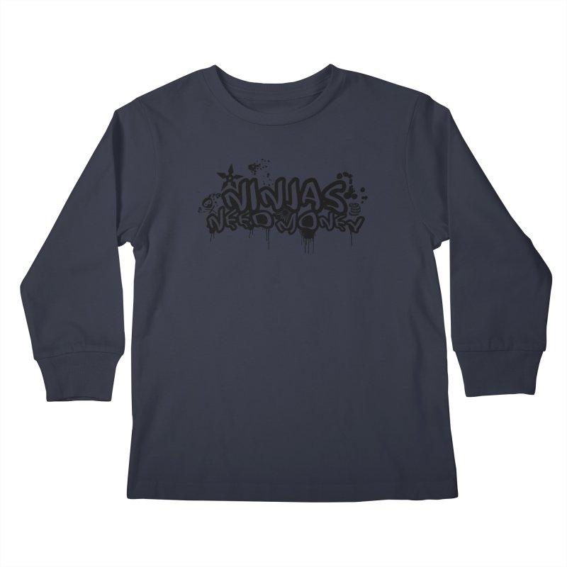 URBAN NINJA BLACK Kids Longsleeve T-Shirt by Ninjas Need Money's Artist Shop