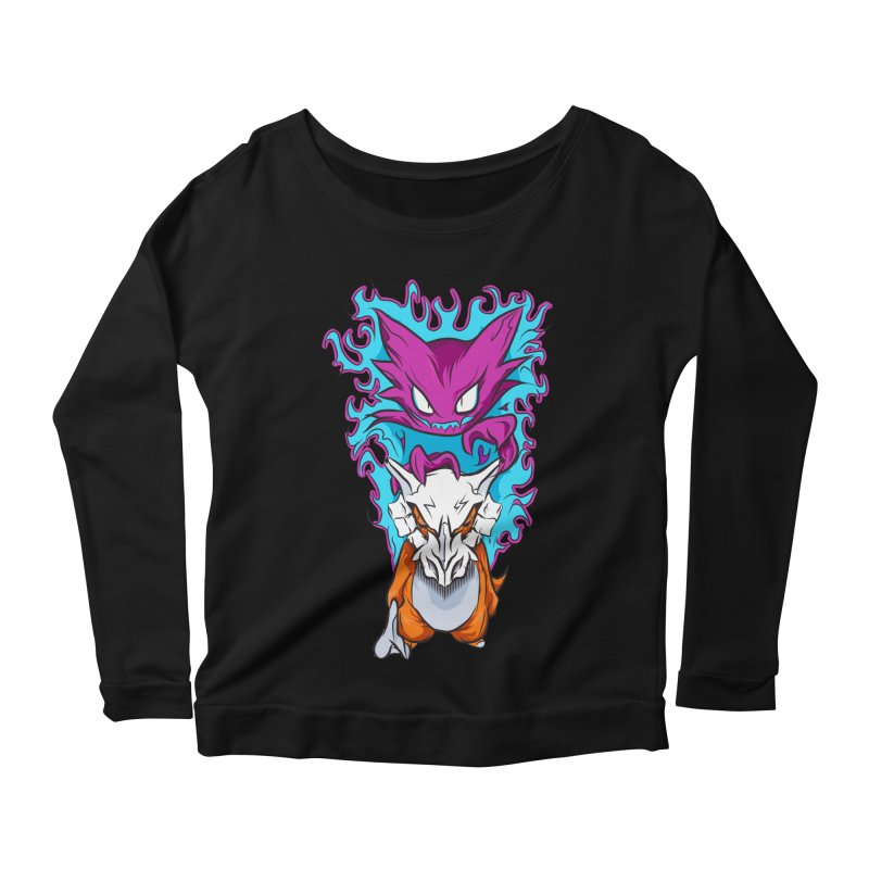 Cubone Vs Haunter  Women's Scoop Neck Longsleeve T-Shirt by Nocturnal Culture