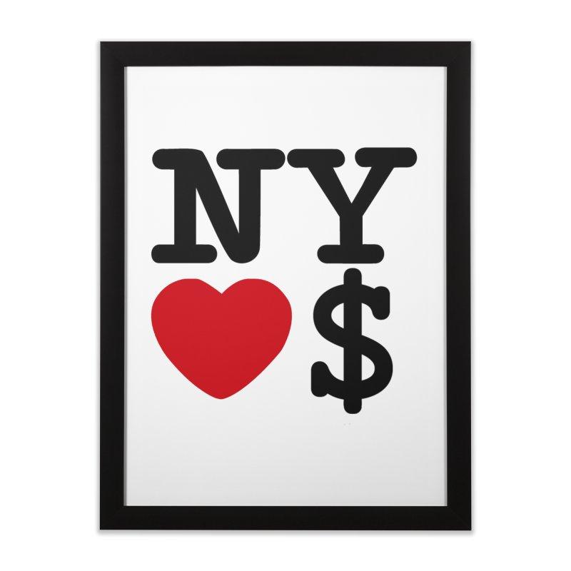 New York Loves Money Home Framed Fine Art Print by Not Bad Tees