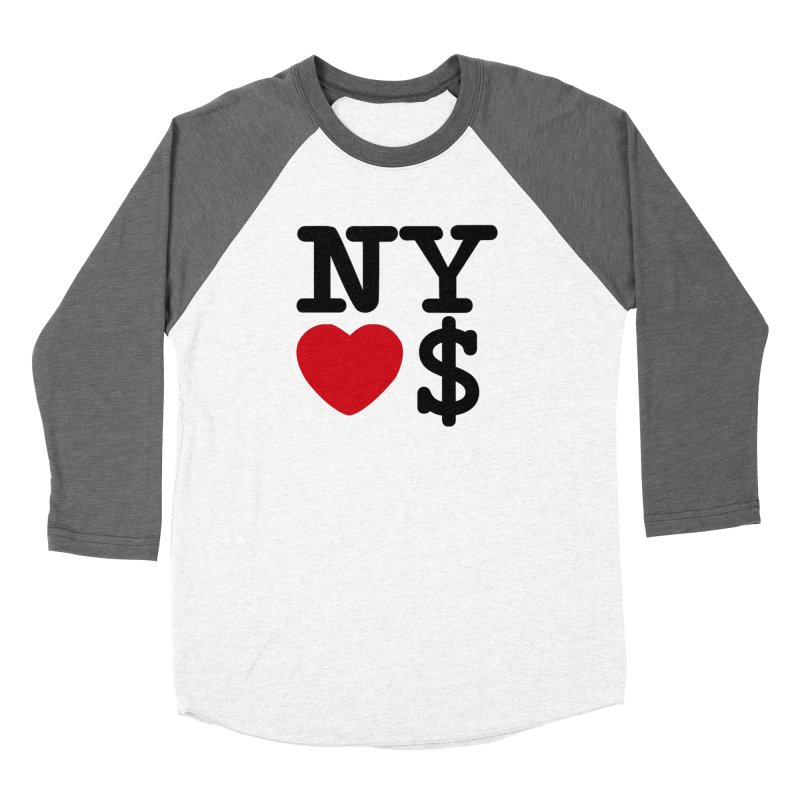 New York Loves Money Women's Baseball Triblend Longsleeve T-Shirt by Not Bad Tees
