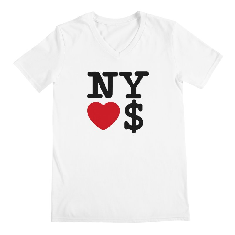 New York Loves Money Men's Regular V-Neck by Not Bad Tees