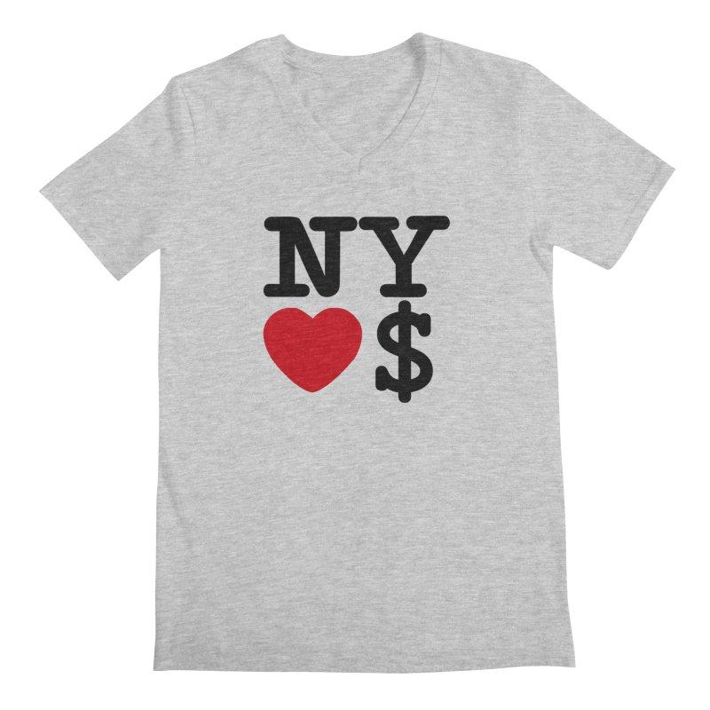 New York Loves Money Men's Regular V-Neck by NotBadTees's Artist Shop