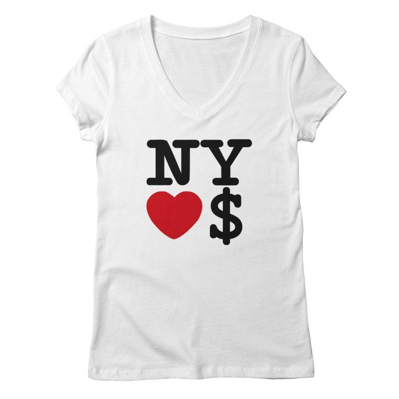 New York Loves Money Women's Regular V-Neck by Not Bad Tees