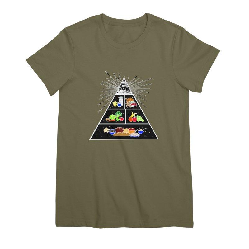 Illuminati Food Pyramid Women's Premium T-Shirt by Not Bad Tees