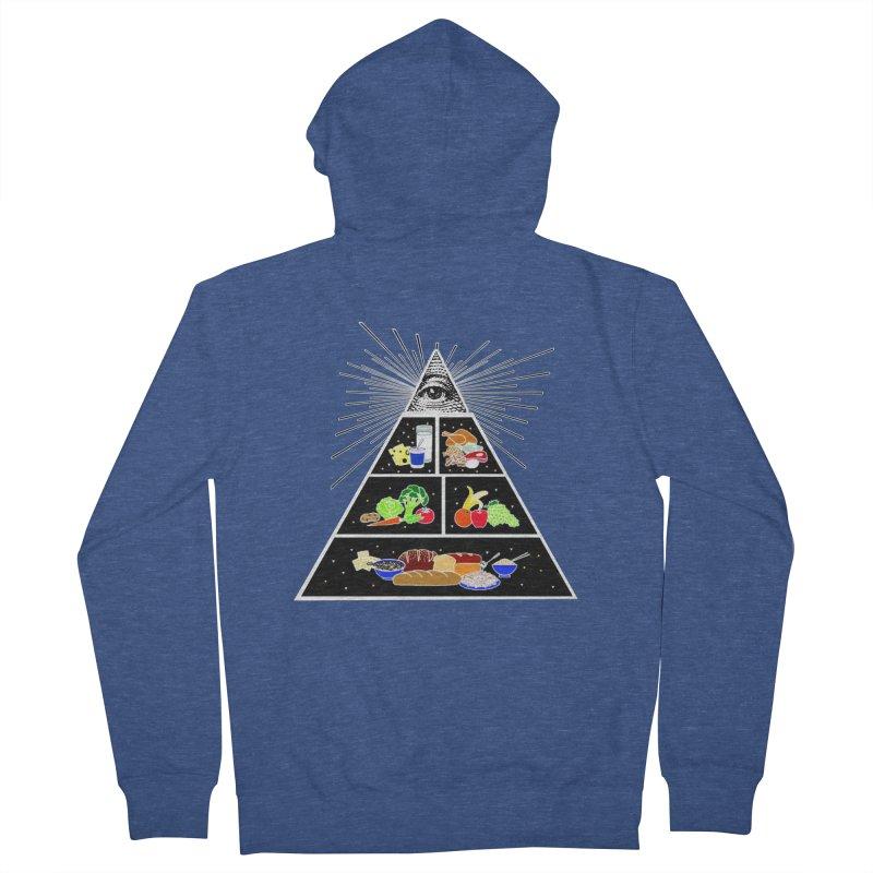 Illuminati Food Pyramid Men's French Terry Zip-Up Hoody by Not Bad Tees