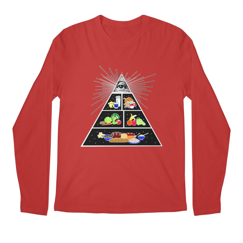 Illuminati Food Pyramid Men's Regular Longsleeve T-Shirt by Not Bad Tees