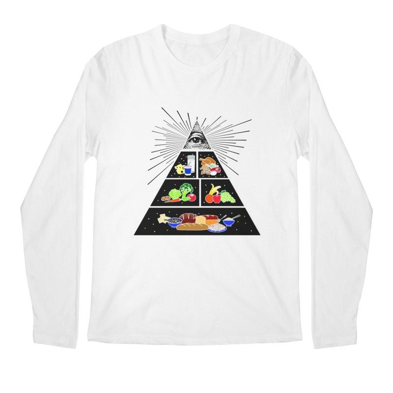 Illuminati Food Pyramid Men's Regular Longsleeve T-Shirt by Not Bad Tees