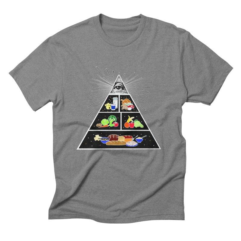 Illuminati Food Pyramid Men's Triblend T-Shirt by NotBadTees's Artist Shop