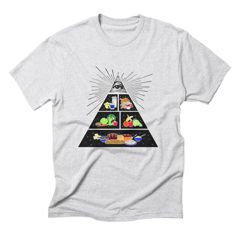 Illuminati Food Pyramid Men's Triblend T-Shirt by Not Bad Tees