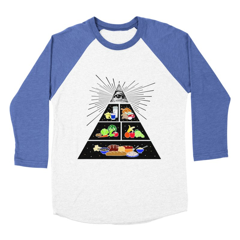 Illuminati Food Pyramid Women's Baseball Triblend Longsleeve T-Shirt by Not Bad Tees