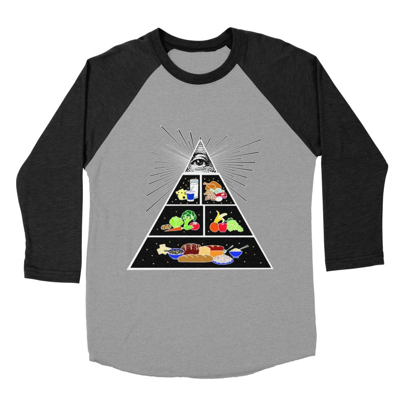 Illuminati Food Pyramid Women's Baseball Triblend Longsleeve T-Shirt by Not Bad Tees