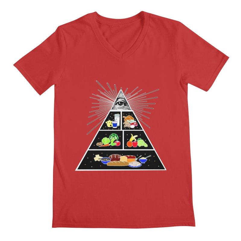 Illuminati Food Pyramid Men's Regular V-Neck by Not Bad Tees