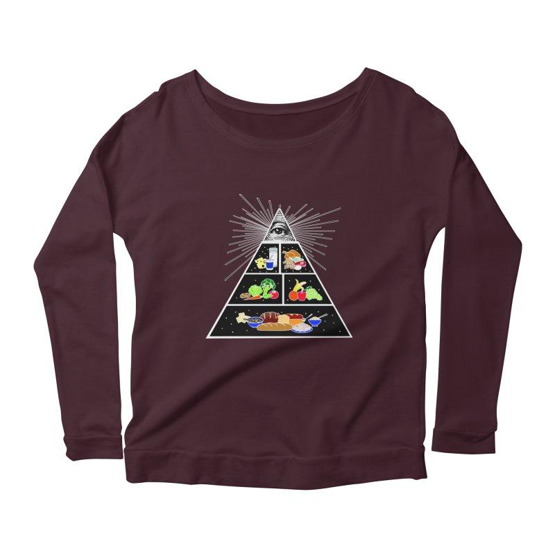 Illuminati Food Pyramid Women's Scoop Neck Longsleeve T-Shirt by NotBadTees's Artist Shop