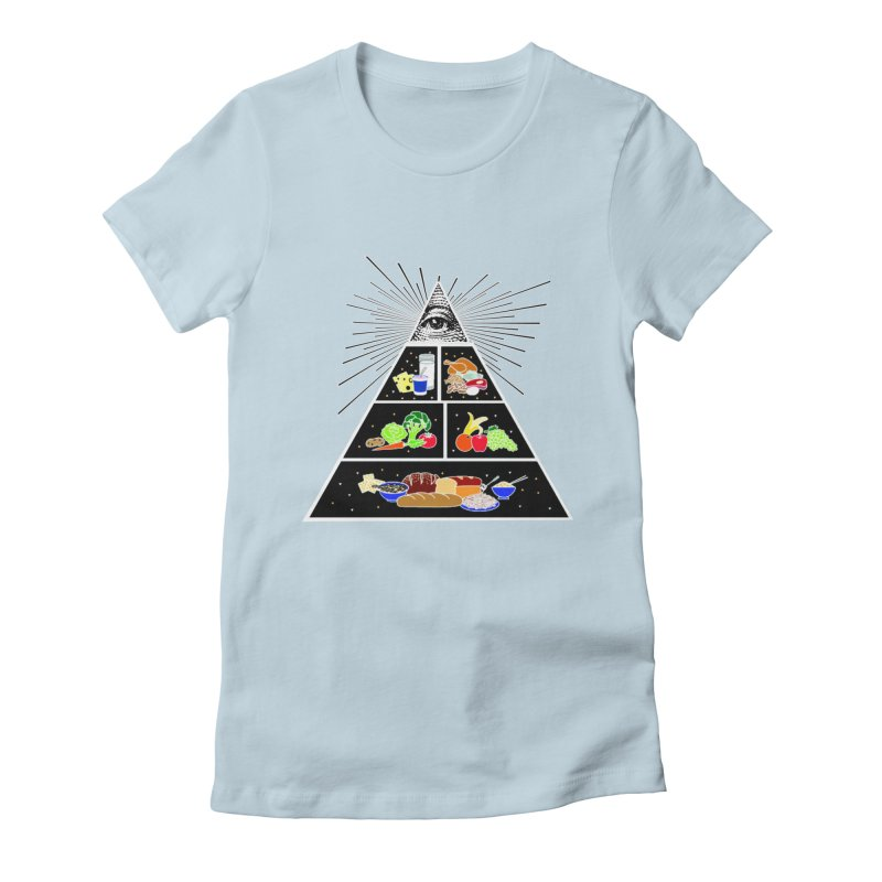 Illuminati Food Pyramid Women's Fitted T-Shirt by Not Bad Tees
