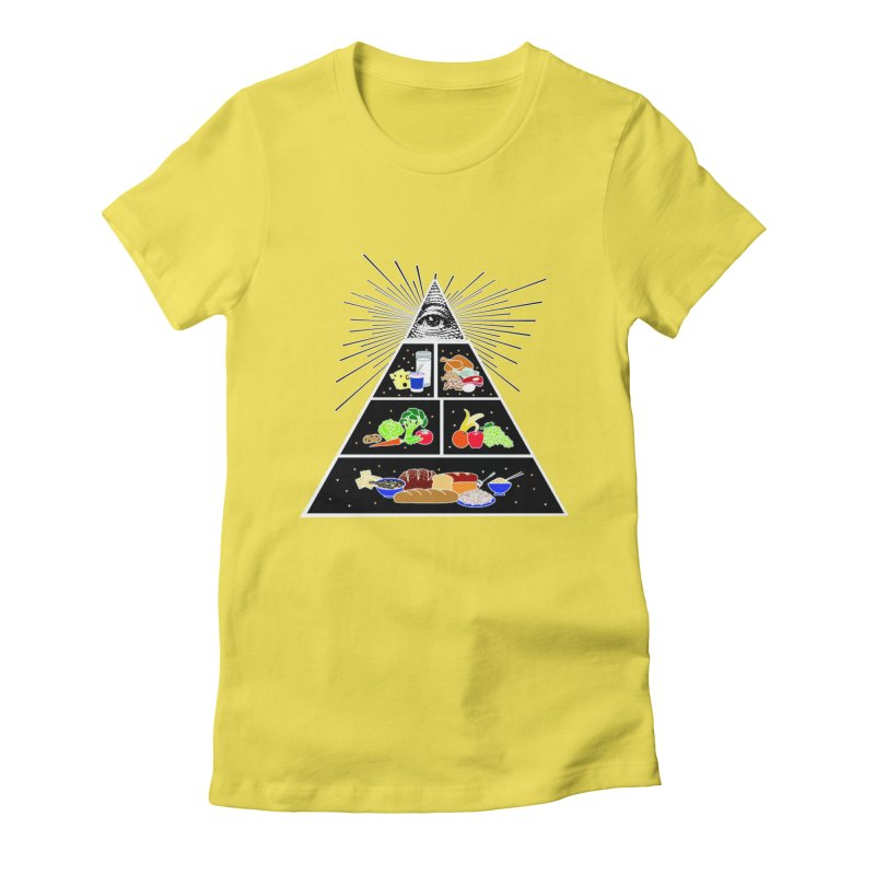 Illuminati Food Pyramid Women's Fitted T-Shirt by NotBadTees's Artist Shop