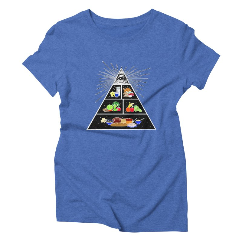Illuminati Food Pyramid Women's Triblend T-Shirt by Not Bad Tees