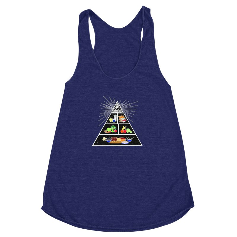 Illuminati Food Pyramid Women's Racerback Triblend Tank by NotBadTees's Artist Shop
