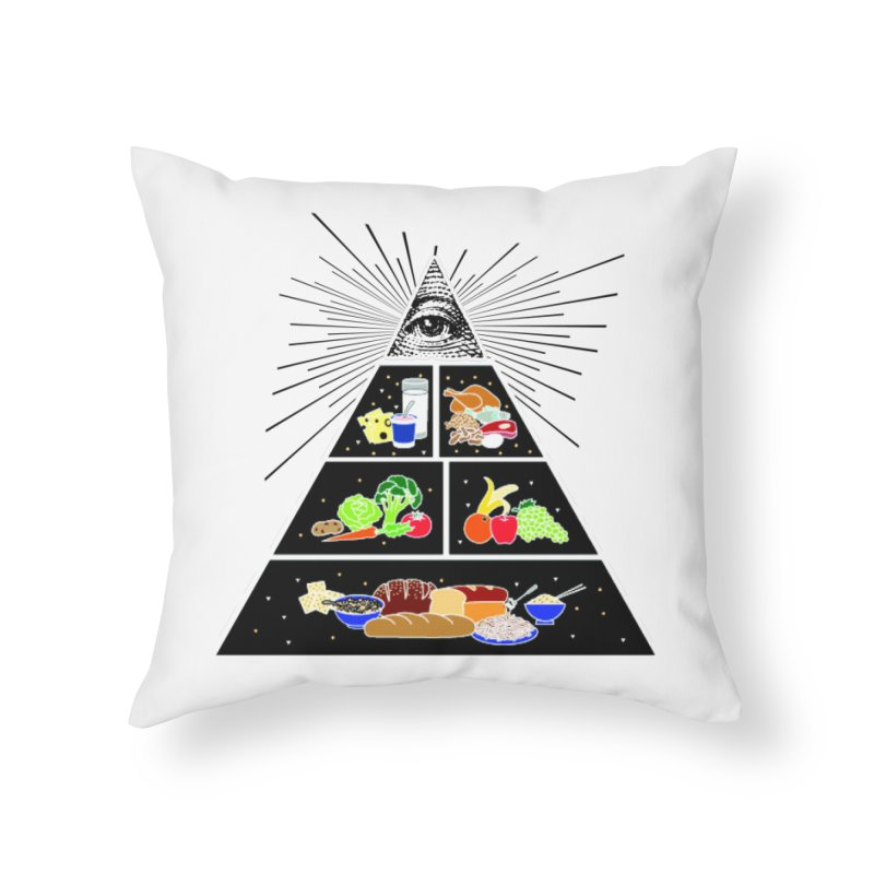 Illuminati Food Pyramid Home Throw Pillow by Not Bad Tees