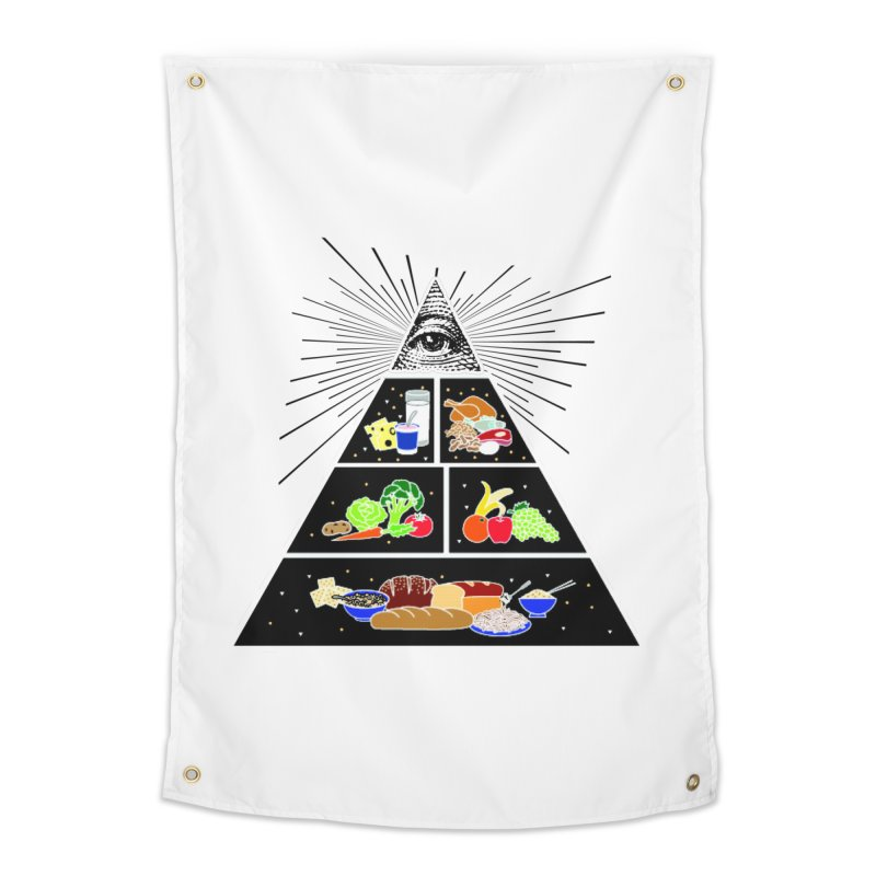 Illuminati Food Pyramid Home Tapestry by NotBadTees's Artist Shop