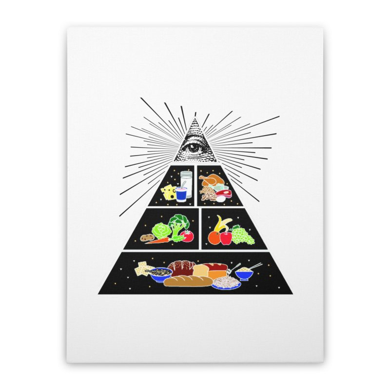 Illuminati Food Pyramid Home Stretched Canvas by Not Bad Tees
