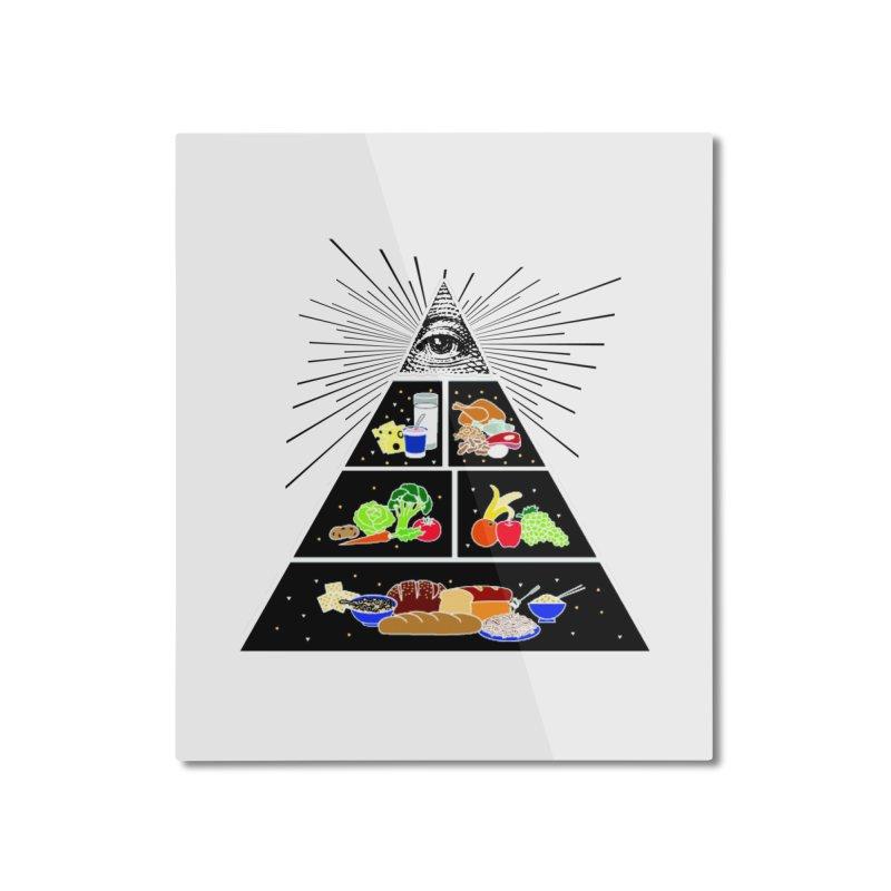 Illuminati Food Pyramid Home Mounted Aluminum Print by Not Bad Tees