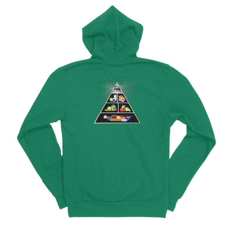 Illuminati Food Pyramid Women's Sponge Fleece Zip-Up Hoody by Not Bad Tees