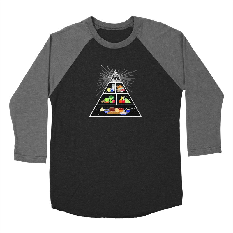 Illuminati Food Pyramid Men's Baseball Triblend Longsleeve T-Shirt by Not Bad Tees