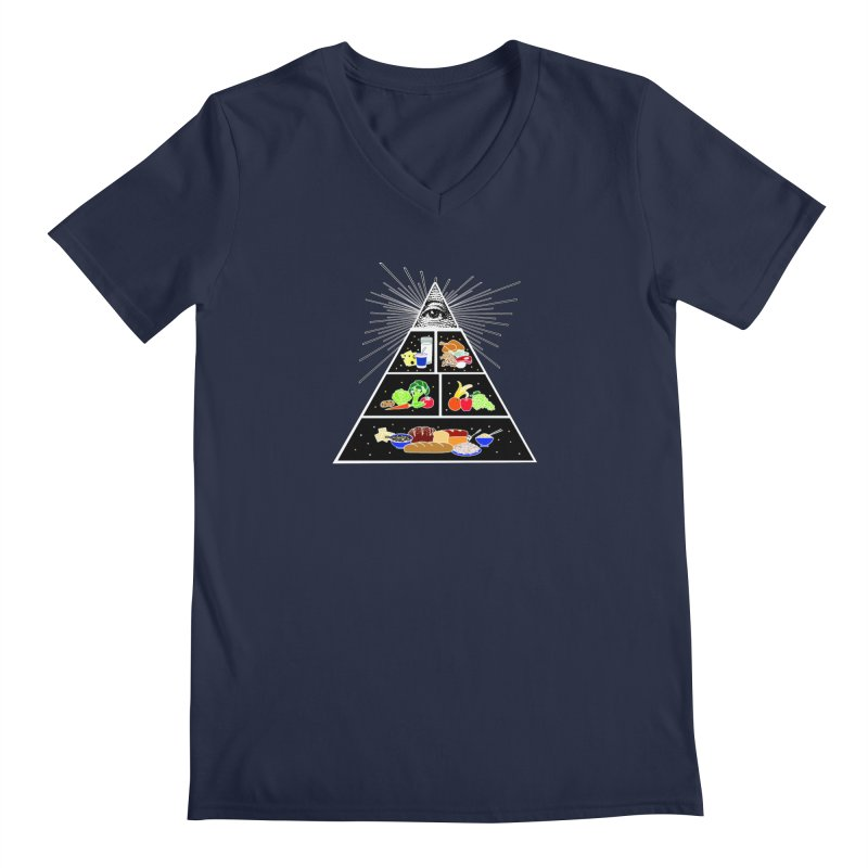 Illuminati Food Pyramid Men's Regular V-Neck by Not Bad Tees