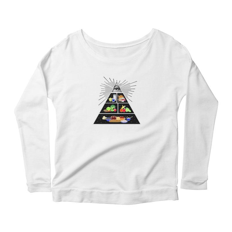 Illuminati Food Pyramid Women's Scoop Neck Longsleeve T-Shirt by Not Bad Tees