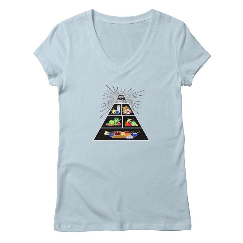 Illuminati Food Pyramid Women's Regular V-Neck by Not Bad Tees