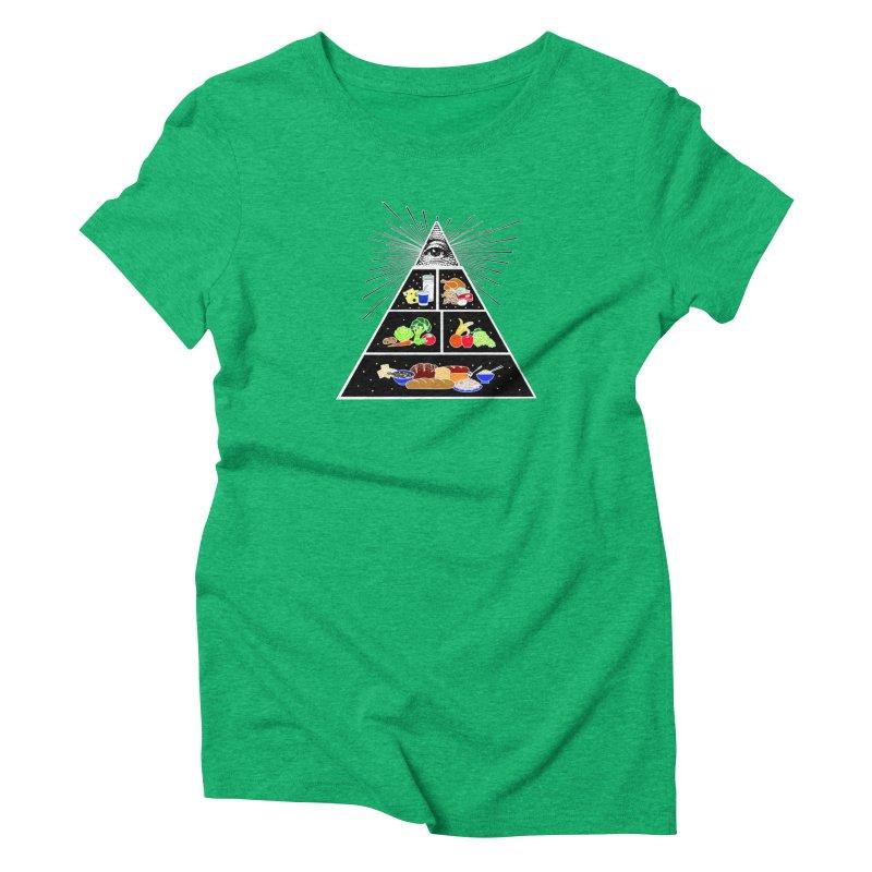 Illuminati Food Pyramid Women's Triblend T-Shirt by Not Bad Tees