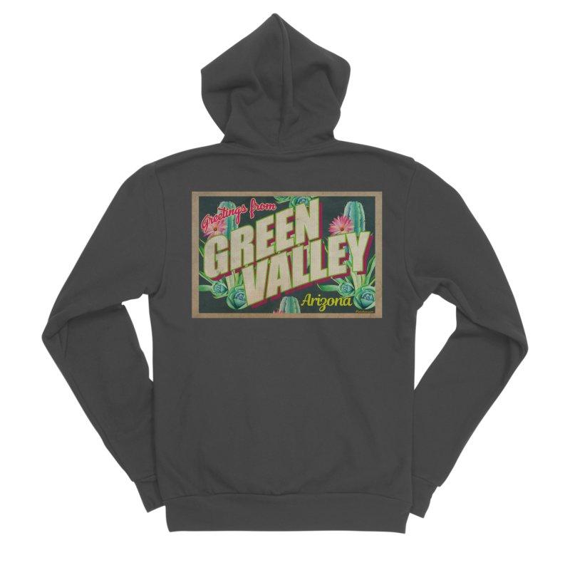 Green Valley, Arizona Men's Sponge Fleece Zip-Up Hoody by Nuttshaw Studios
