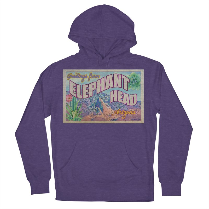 Elephant Head, Arizona Men's French Terry Pullover Hoody by Nuttshaw Studios