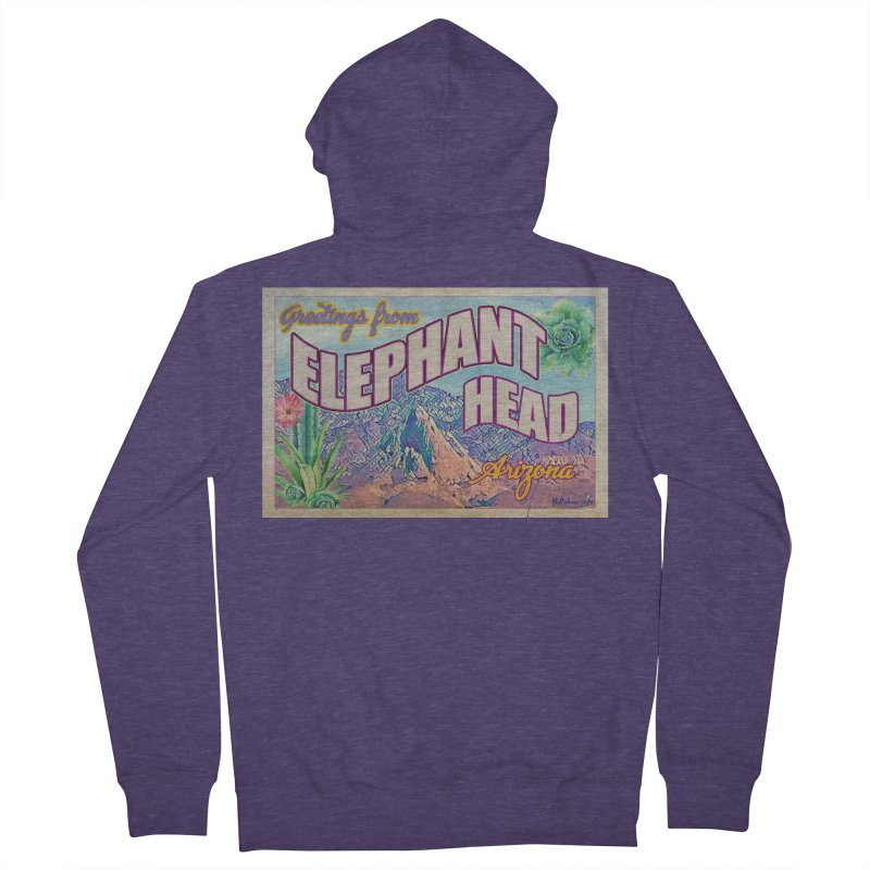 Elephant Head, Arizona Men's French Terry Zip-Up Hoody by Nuttshaw Studios