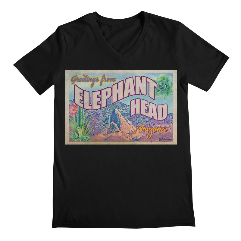 Elephant Head, Arizona Men's Regular V-Neck by Nuttshaw Studios