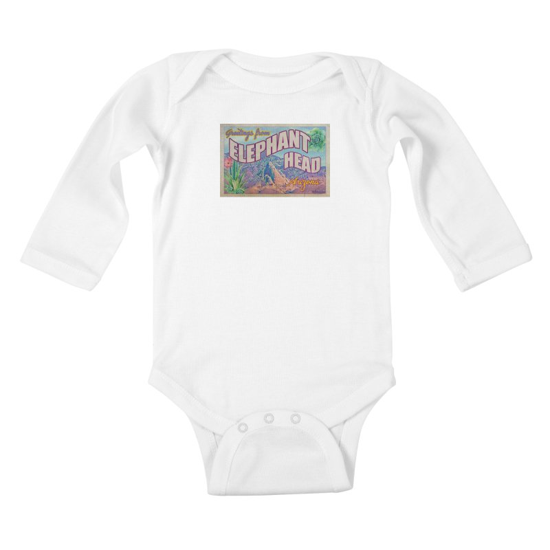 Elephant Head, Arizona Kids Baby Longsleeve Bodysuit by Nuttshaw Studios