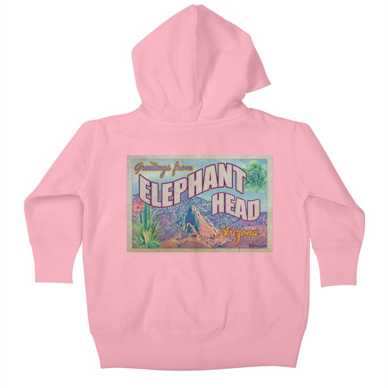 Elephant Head, Arizona Kids Baby Zip-Up Hoody by Nuttshaw Studios