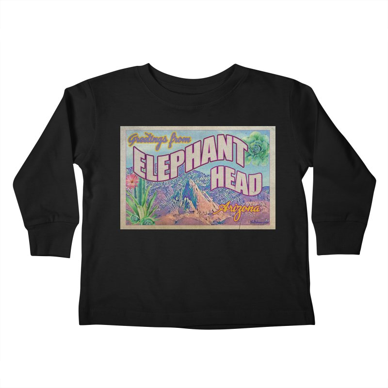 Elephant Head, Arizona Kids Toddler Longsleeve T-Shirt by Nuttshaw Studios