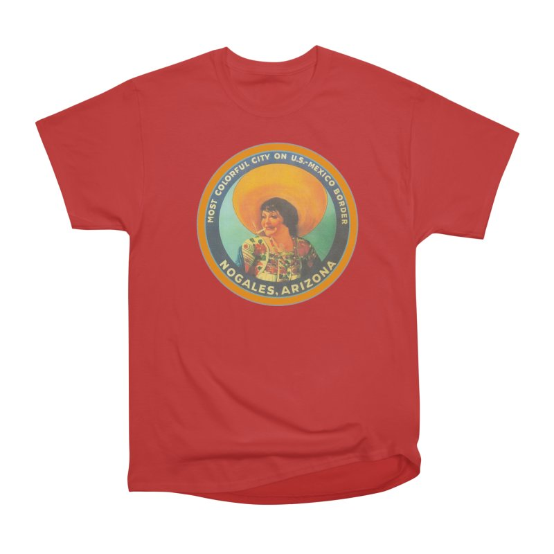 Colorful Nogales, Arizona Men's Heavyweight T-Shirt by Nuttshaw Studios