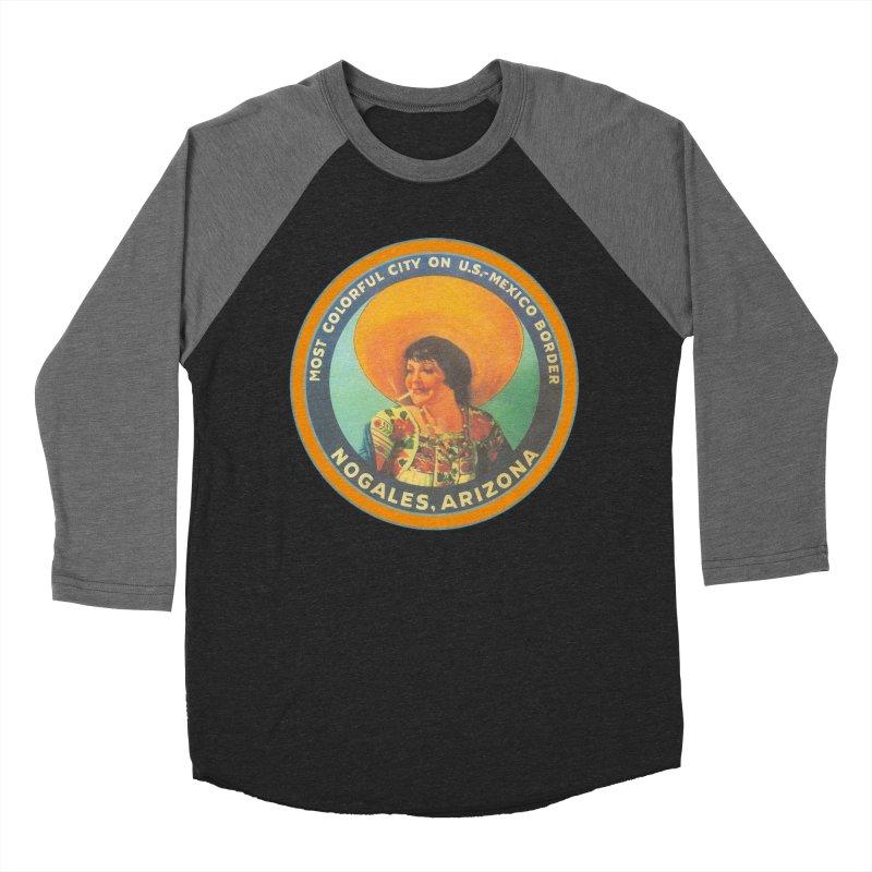 Colorful Nogales, Arizona Men's Baseball Triblend Longsleeve T-Shirt by Nuttshaw Studios