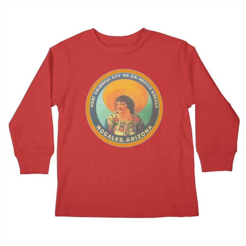 Colorful Nogales, Arizona Kids Longsleeve T-Shirt by Nuttshaw Studios