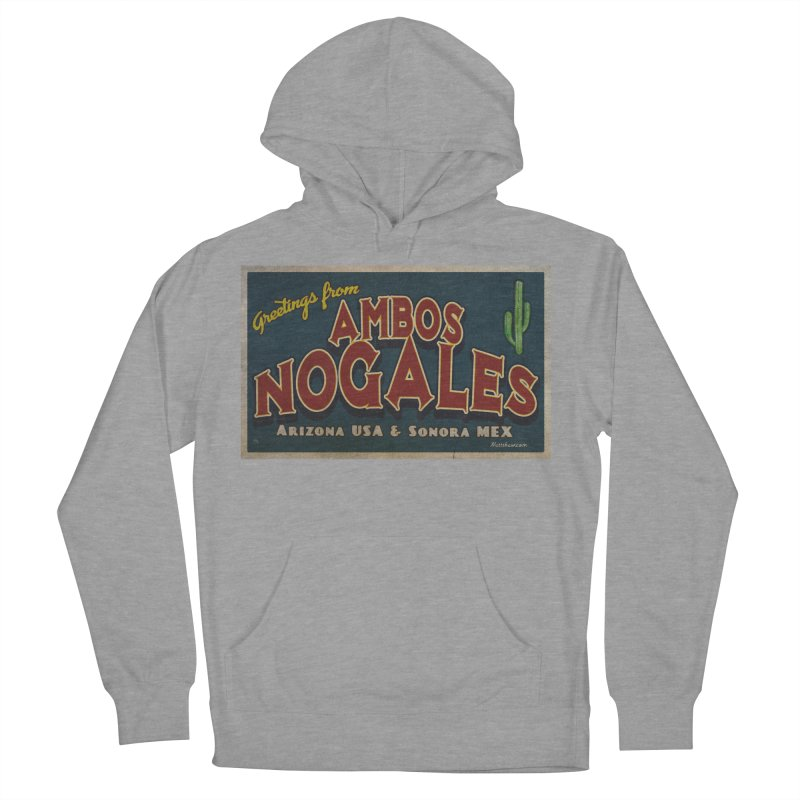 Ambos Nogales Blue Men's French Terry Pullover Hoody by Nuttshaw Studios