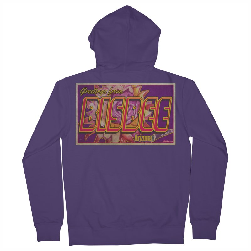 Bisbee, AZ. Women's French Terry Zip-Up Hoody by Nuttshaw Studios