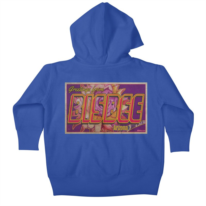 Bisbee, AZ. Kids Baby Zip-Up Hoody by Nuttshaw Studios