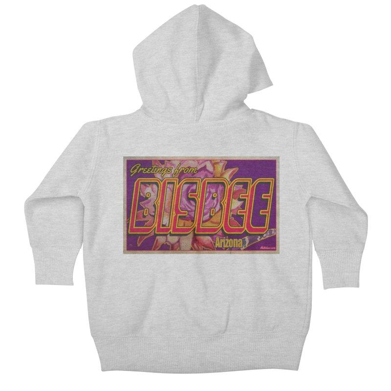 Bisbee, AZ. Kids Baby Zip-Up Hoody by Nuttshaw Studios