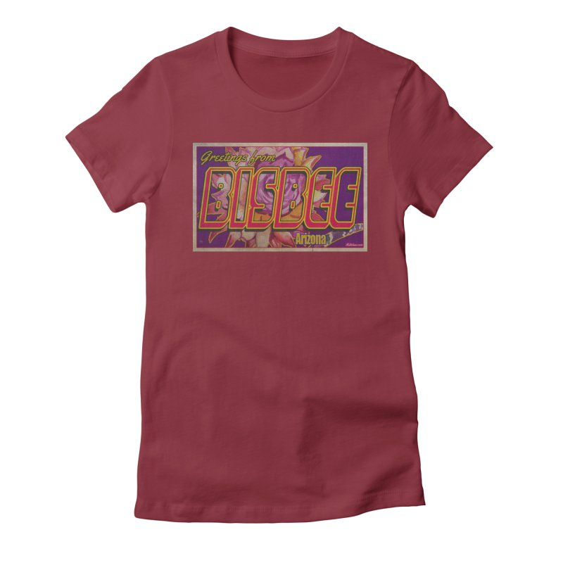 Bisbee, AZ. Women's Fitted T-Shirt by Nuttshaw Studios