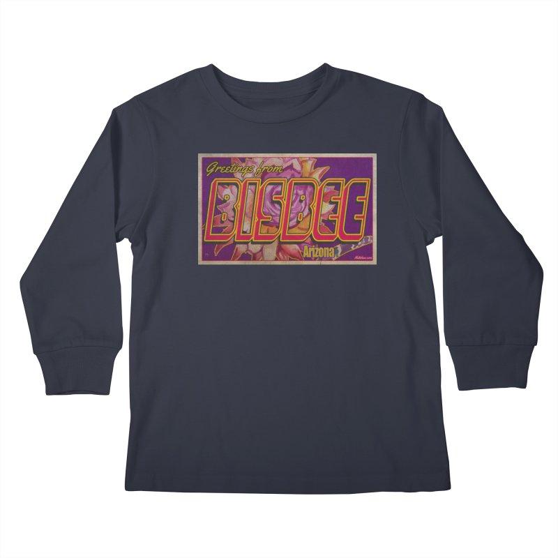 Bisbee, AZ. Kids Longsleeve T-Shirt by Nuttshaw Studios